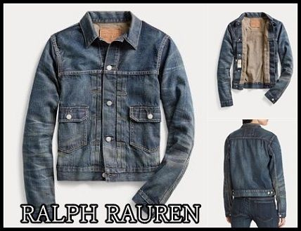 Casual Style Denim Plain Medium Jackets