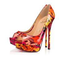 Christian Louboutin Open Toe Platform Casual Style Street Style Leather
