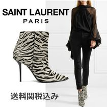 Saint Laurent Zebra Patterns Blended Fabrics Leather Pin Heels
