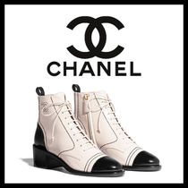 CHANEL Plain Toe Lace-up Casual Style Plain Leather Block Heels
