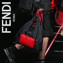 FENDI Stripes Nylon A4 Plain Totes