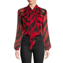 DIANE von FURSTENBERG Silk Long Sleeves Other Animal Patterns Medium Elegant Style