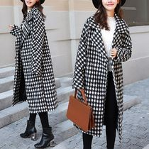 Other Check Patterns Zigzag Long Elegant Style Peacoats