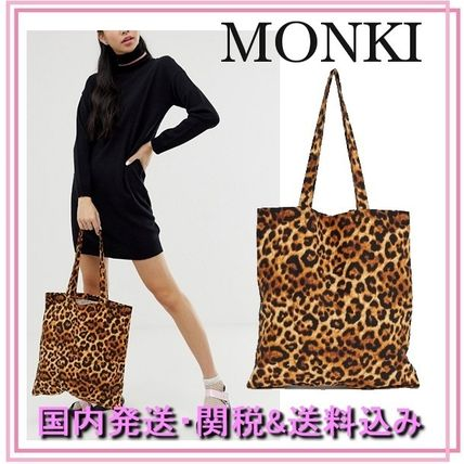 Leopard Patterns Casual Style Canvas Totes