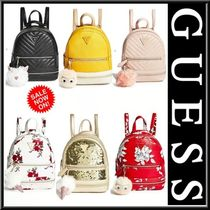 Guess Flower Patterns Casual Style Faux Fur Street Style 2WAY