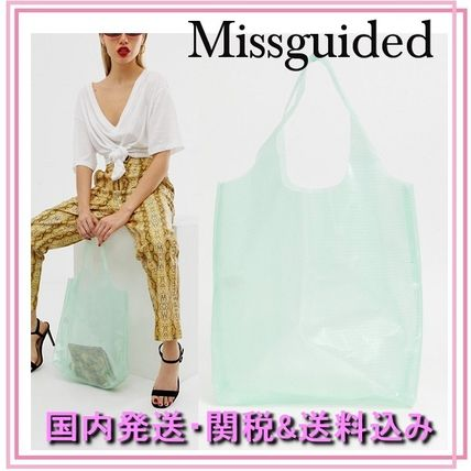 Casual Style Plain PVC Clothing Totes
