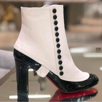 Christian Louboutin Round Toe Bi-color Plain Leather Elegant Style Chunky Heels