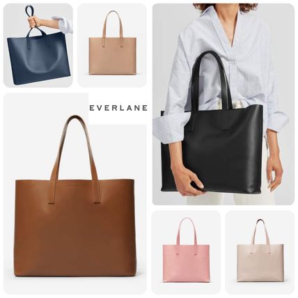 Casual Style Unisex A4 Plain Leather Totes