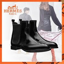 5df49cd2875 HERMES Round Toe Plain Leather Elegant Style Ankle   Booties Boots