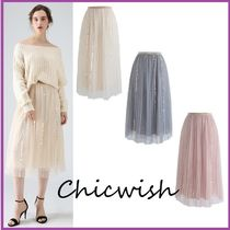 Chicwish Pleated Skirts Long With Jewels Elegant Style Maxi Skirts