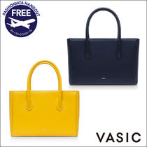VASIC Casual Style Plain Leather Totes