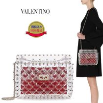VALENTINO Studded 2WAY Plain Crystal Clear Bags PVC Clothing