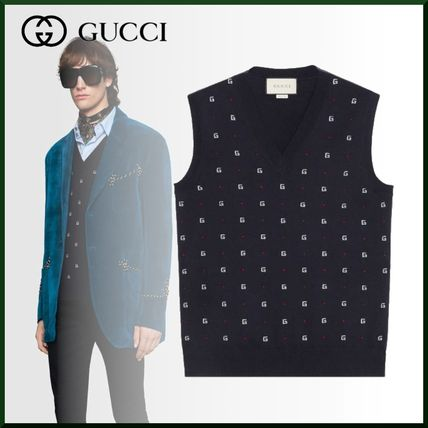 316b79f7b GUCCI Unisex Wool Sleeveless V-Neck Vests & Gillets by KeiTsun - BUYMA