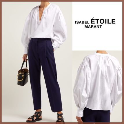 Short Plain Cotton Puff Sleeves Cropped