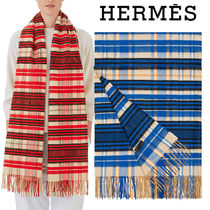 HERMES Tartan Casual Style Cashmere Fringes Accessories