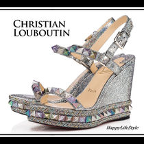 Christian Louboutin Pyraclou Open Toe Platform Casual Style Studded Leather