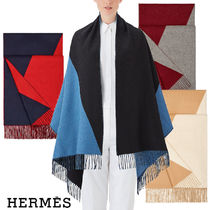 HERMES Casual Style Cashmere Plain Fringes Accessories