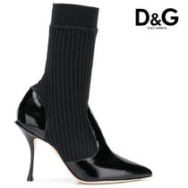 Dolce & Gabbana Casual Style Plain Pin Heels Ankle & Booties Boots