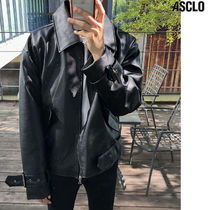 ASCLO Street Style Collaboration Plain Oversized Biker Jackets