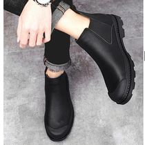 Blended Fabrics Plain Leather Chelsea Boots Chelsea Boots