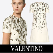 VALENTINO Crew Neck Short Wool Plain Short Sleeves Home Party Ideas