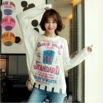 Cable Knit Monogram Casual Style Street Style U-Neck