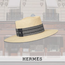 HERMES Blended Fabrics Straw Boaters Straw Hats