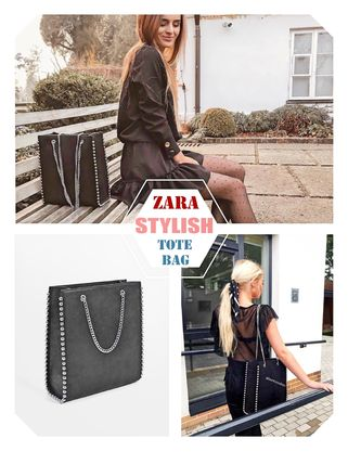Studded Street Style A4 Chain Plain Elegant Style Totes