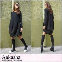 Aakasha Linen U-Neck Long Sleeves Plain Long Handmade Oversized