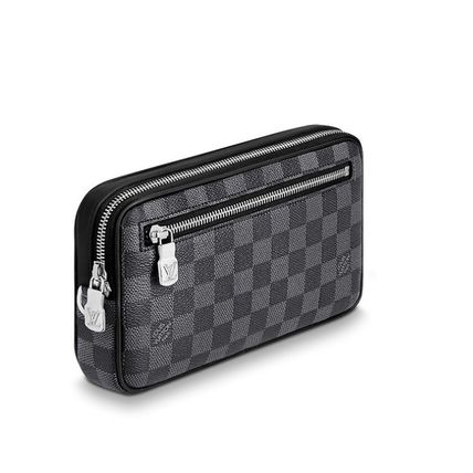Louis Vuitton Clutches Other Check Patterns Canvas Blended Fabrics Street Style 3