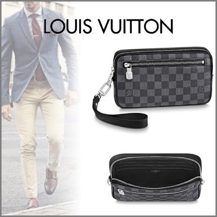 Louis Vuitton Clutches Other Check Patterns Canvas Blended Fabrics Street Style