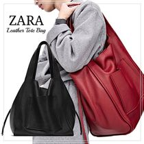 ZARA A4 Plain Leather Office Style Totes