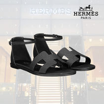 HERMES Open Toe Rubber Sole Blended Fabrics Street Style Plain