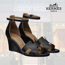 HERMES Open Toe Platform Blended Fabrics Street Style Plain Leather