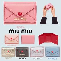 MiuMiu Heart Leather Folding Wallets