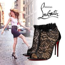 Christian Louboutin Open Toe Blended Fabrics Studded Leather Pin Heels