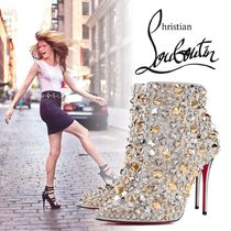 Christian Louboutin Blended Fabrics Studded Plain Pin Heels With Jewels