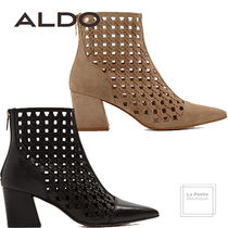 ALDO Casual Style Plain Leather Block Heels Ankle & Booties Boots