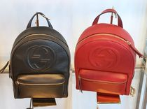 GUCCI Plain Leather Elegant Style Backpacks
