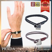 PRADA Unisex Blended Fabrics Leather Bracelets