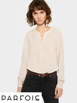 PARFOIS Long Sleeves Plain Medium Office Style Oversized Shirts