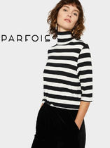 PARFOIS Stripes Cropped Medium Office Style Sweaters