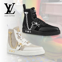 Louis Vuitton Suede Blended Fabrics Street Style Chain Plain V Tips Boots
