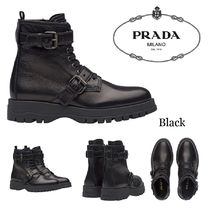 PRADA Plain Toe Rubber Sole Lace-up Casual Style Plain Leather