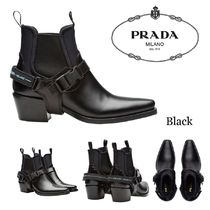 PRADA Square Toe Plain Leather Block Heels Elegant Style