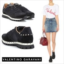 VALENTINO Round Toe Casual Style Studded Street Style Plain Leather