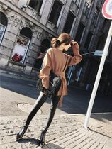 Casual Style Long Sleeves Plain Long High-Neck Sweaters