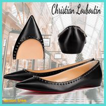 Christian Louboutin Platform Round Toe Blended Fabrics Studded Plain Leather