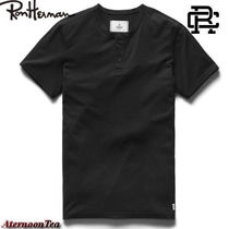 Ron Herman Henry Neck Street Style Plain Cotton Short Sleeves Handmade