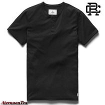 REIGNING CHAMP Henry Neck Street Style Plain Cotton Short Sleeves Handmade